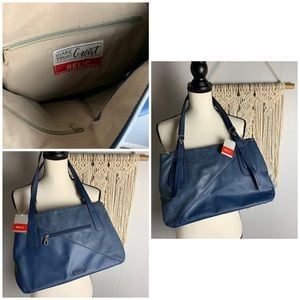 NWT Relic Blue Leather Shoulder Bag